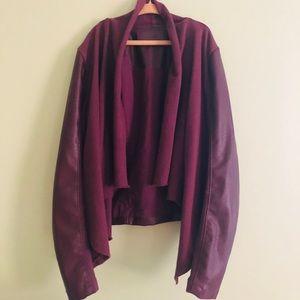 Maroon leather jacket.